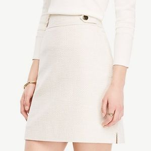 Ann Taylor Textured Tweed Button Tab Skirt